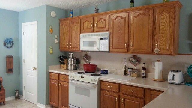 Repainted My Kitchen Benjamin Mooreu0027s Homestead Green To Go With My Honey  Oak Cabinets. Kitchen