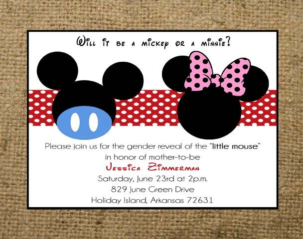 Minnie & Mickey Mouse Gender Reveal Baby Shower Invitation | Jacob ...