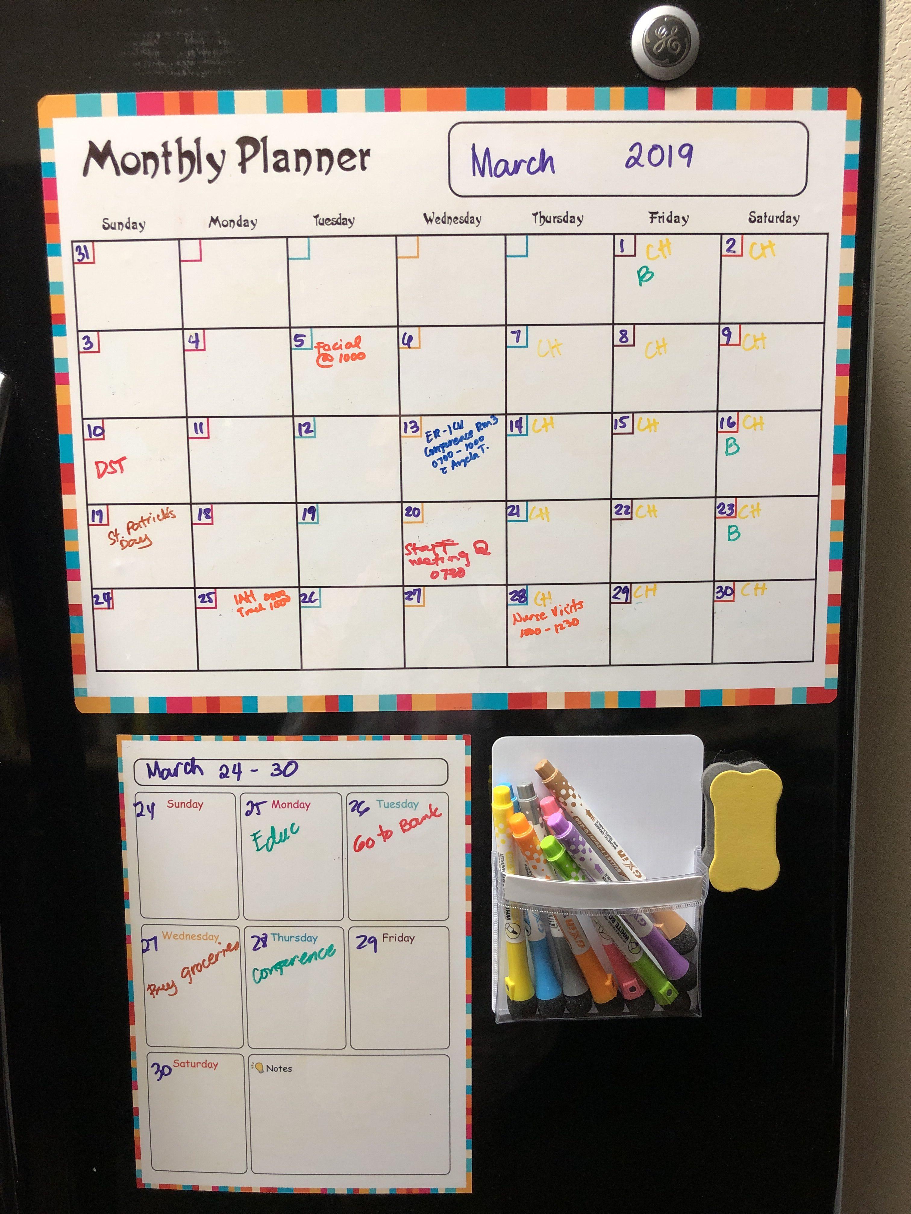 Magnetic Calendar Set Includes 1 13 X17 Calendar 1 8 X11 Weekly