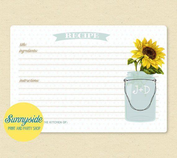 SUNFLOWER Mason Jar Recipe Card