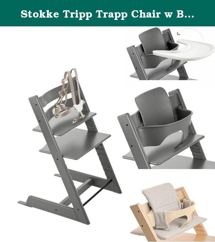 Stokke Tripp Trapp Chair W Baby Set Stokke Tray Grey Loom Cushion Storm Grey Includes The Stokke Tripp Baby High Chair Tripp Trapp Chair Striped Cushions