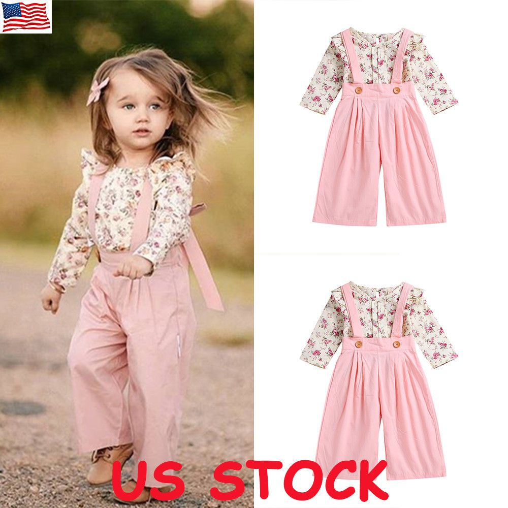 2PCS Toddler Kids Baby Girls Ruffle Tops Pants Pink Outfits Clothes Tracksuit UK