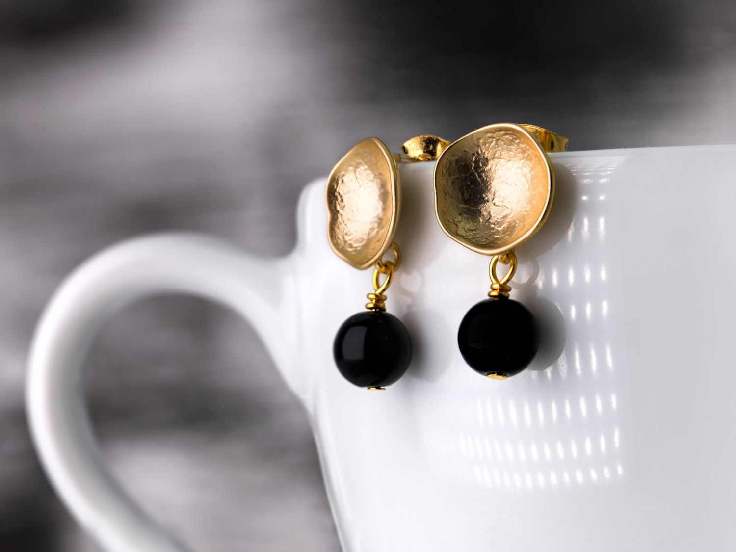 Small gold plated cup-shaped earrings with onyx beads, satin gold ...