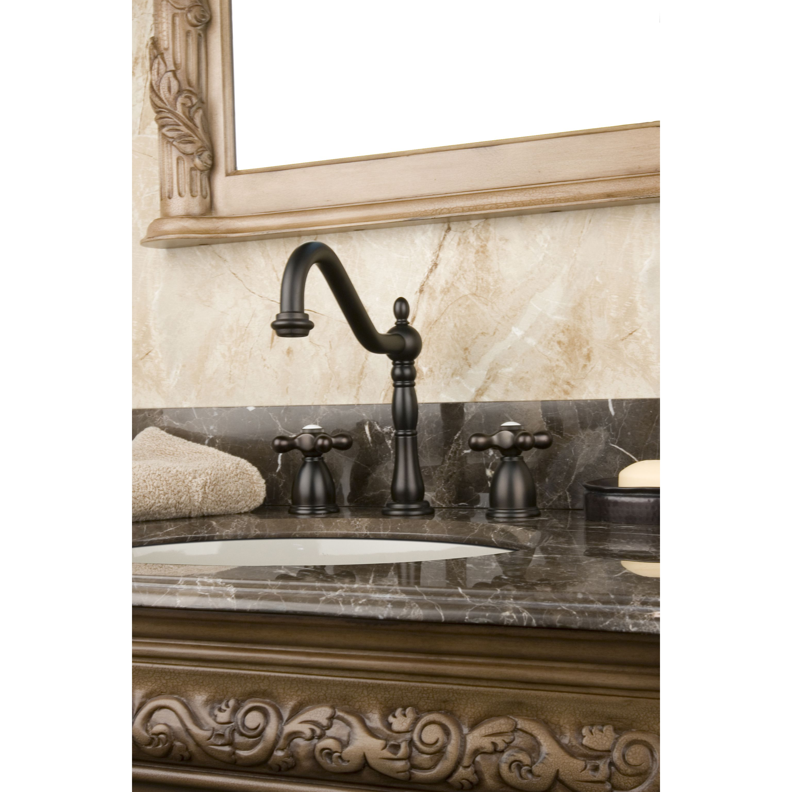 This widespread oil rubbed bronze bathroom faucet is a living ...