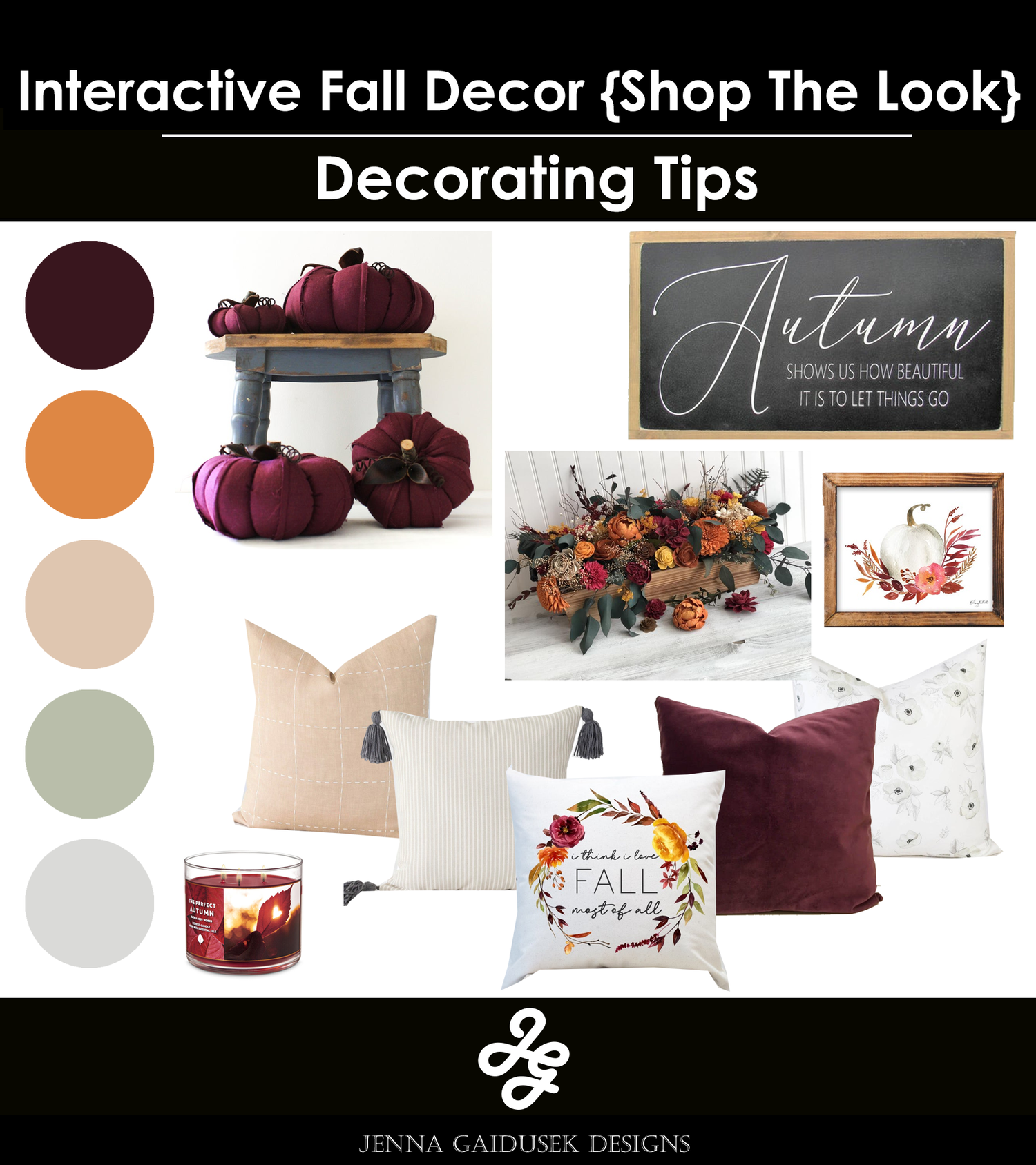 Farmhouse fall decor- shop the look, farmhouse signs, decor, fall pillows and more.  — Jenna Gaidusek Designs