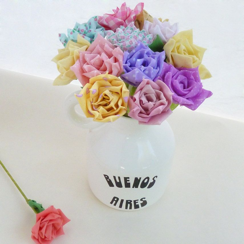 Fabric Flower Wedding Bouquet Tutorial: DIY Wedding True LOVE Roses Bridal Bouquet Or Vase