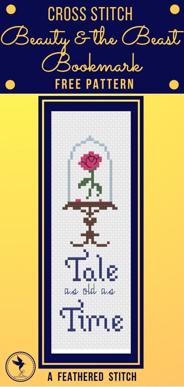 Photo of Beauty and the Beast Bookmark for Cross Stitch – A Feathered Stitch