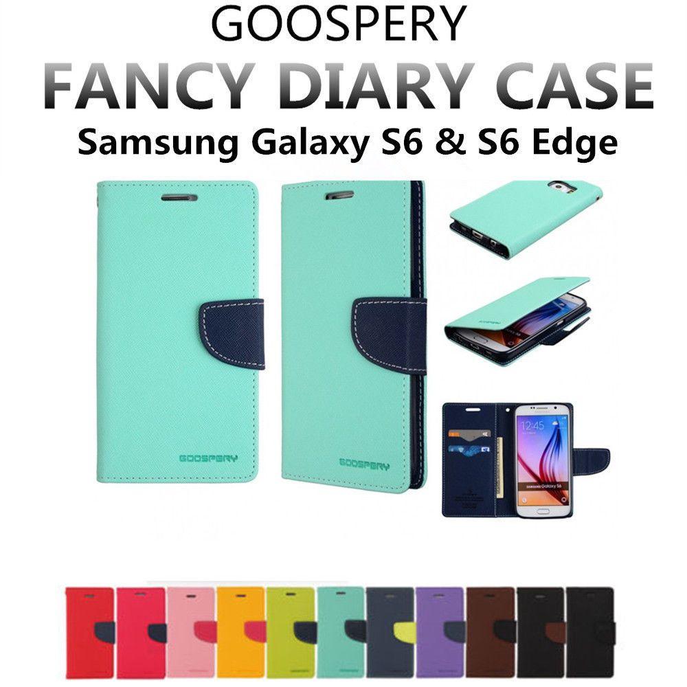 For Galaxy S6 Edge Genuine Mercury Goospery Folio Flip Case Samsung Canvas Diary Green Wallet Cover