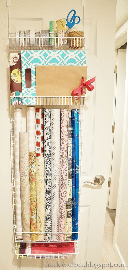 Freckles Chick: Corralling Closet Clutter: Over The Door Giftwrap Storage