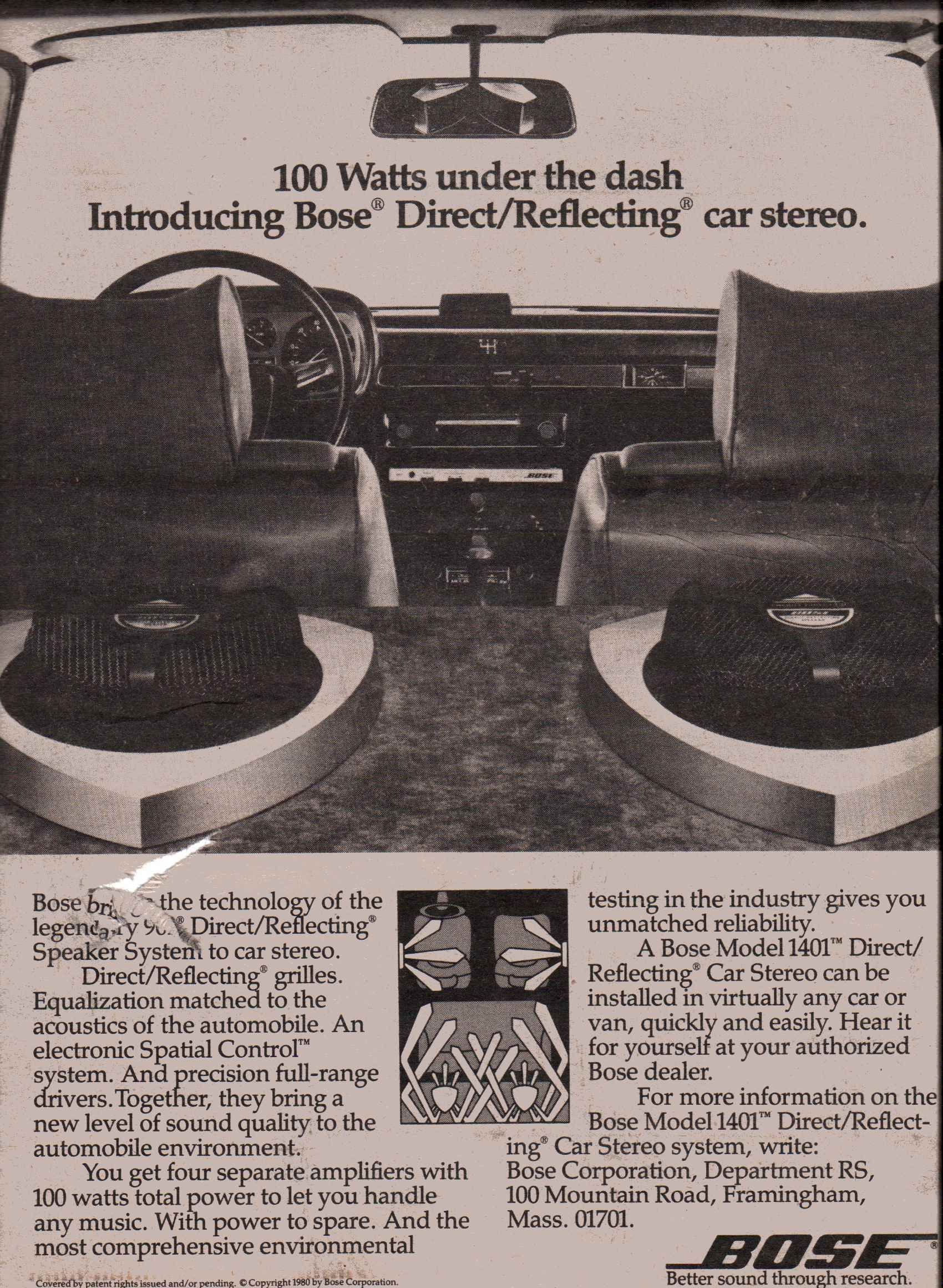 Bose Car Stereo >> 1980 Bose Model 1401 Direct Reflecting Car Stereo Vintage