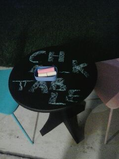 Chalkboard table to share