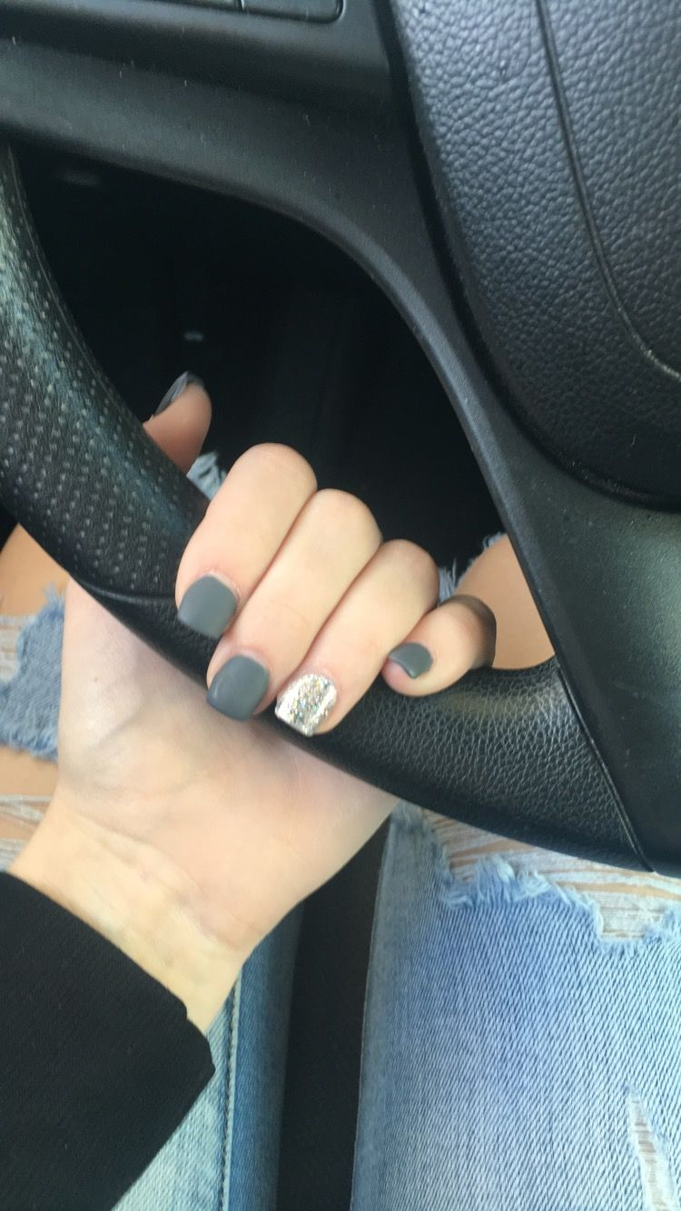 Matte, sparkle, grey, dark grey, short square acrylic nails | Nails ...