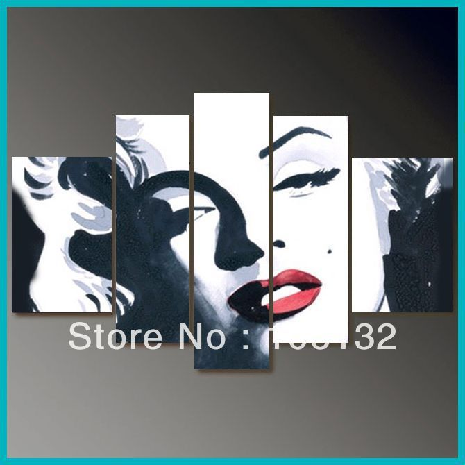 Delightful 5 Pieces Hand Draw Art Oil Painting Marilyn Monroe Wall Decor Canvas No  Frame
