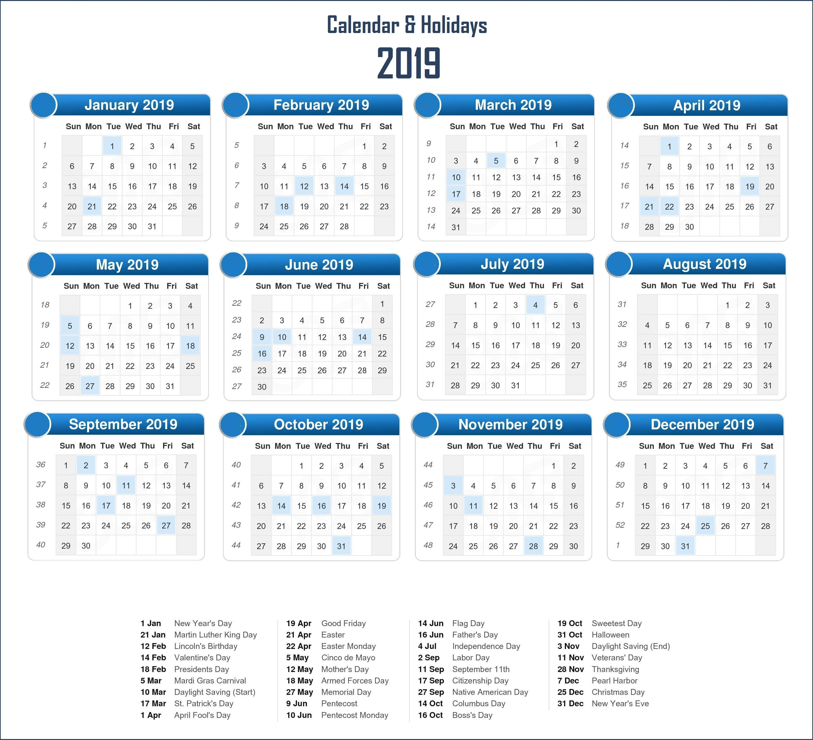 2019 Holidays Calendar Template Monthly Calendar Templates