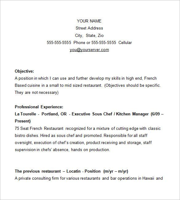 Chef Resume Template   Free Samples Examples Psd Format