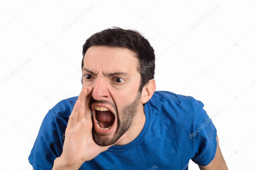 Young man shouting and screaming - Stock Photo , #spon, #shouting, #man, #Young, #Photo #AD