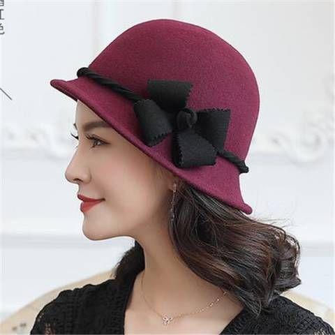 7a28158d24a Flower wool cloche hat for women fashion winter bucket hats