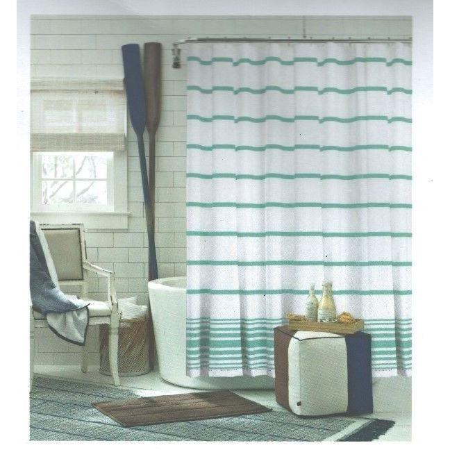 Tommy Hilfiger Signature Stripe Shower Curtain Baja Stripe Green