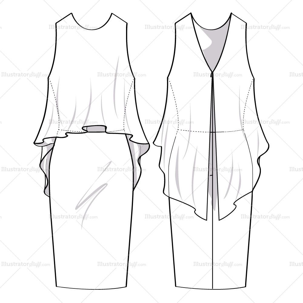 Women\'s Flowy Dress Fashion Flat Template | Fashion flats, Dress ...