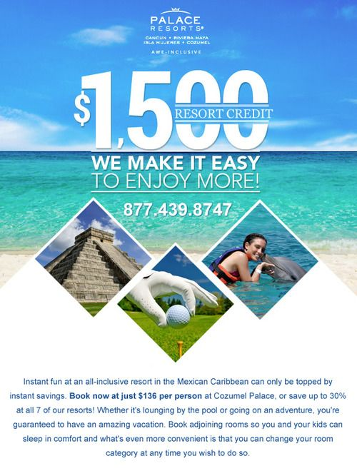 Travel Tuesday 1500 Resort Credits At Palace Resorts Now S The Best Time To Book Your Family S Fall Or Winter Va Palace Resorts Cancun Palace Resorts Resort