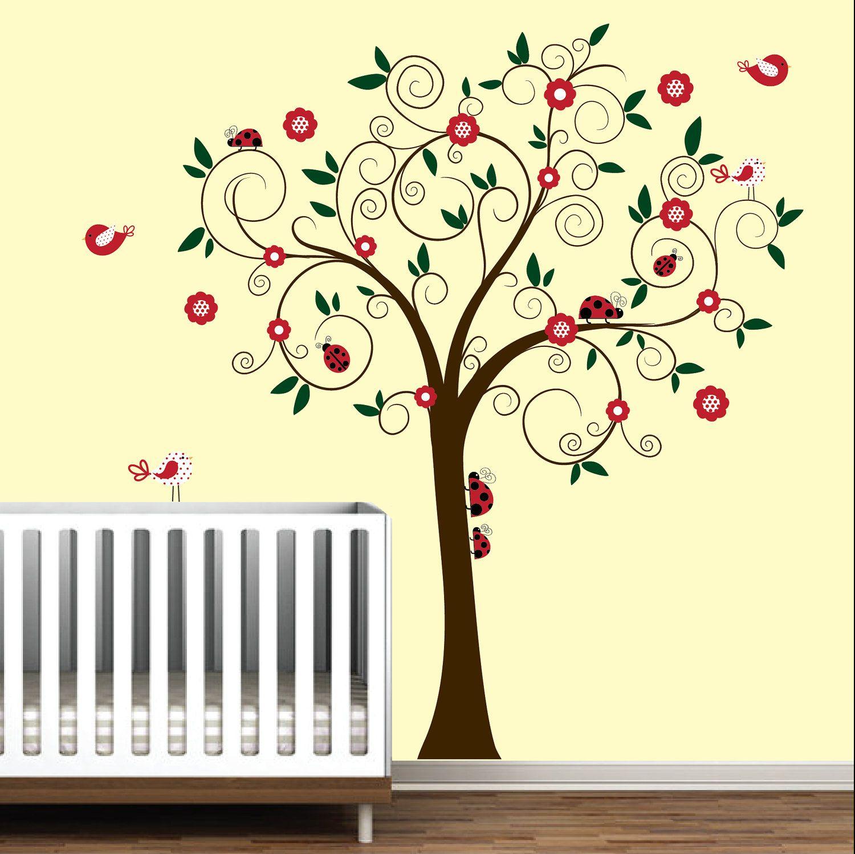 Swirl Tree with Ladybugs and birds-Kids Baby Nursery Wall Decal ...