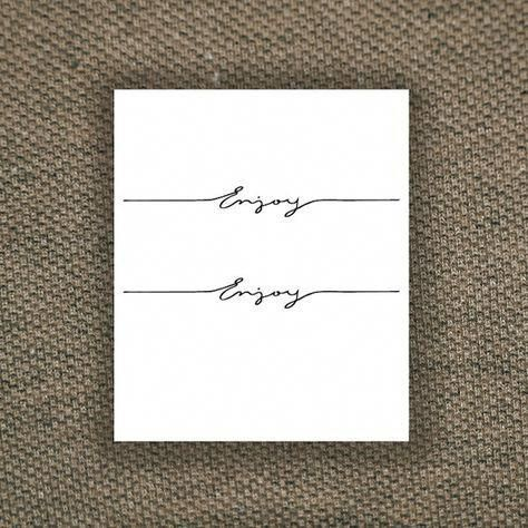 Enjoy temporary tattoo set / typography temporary tattoo / | Etsy
