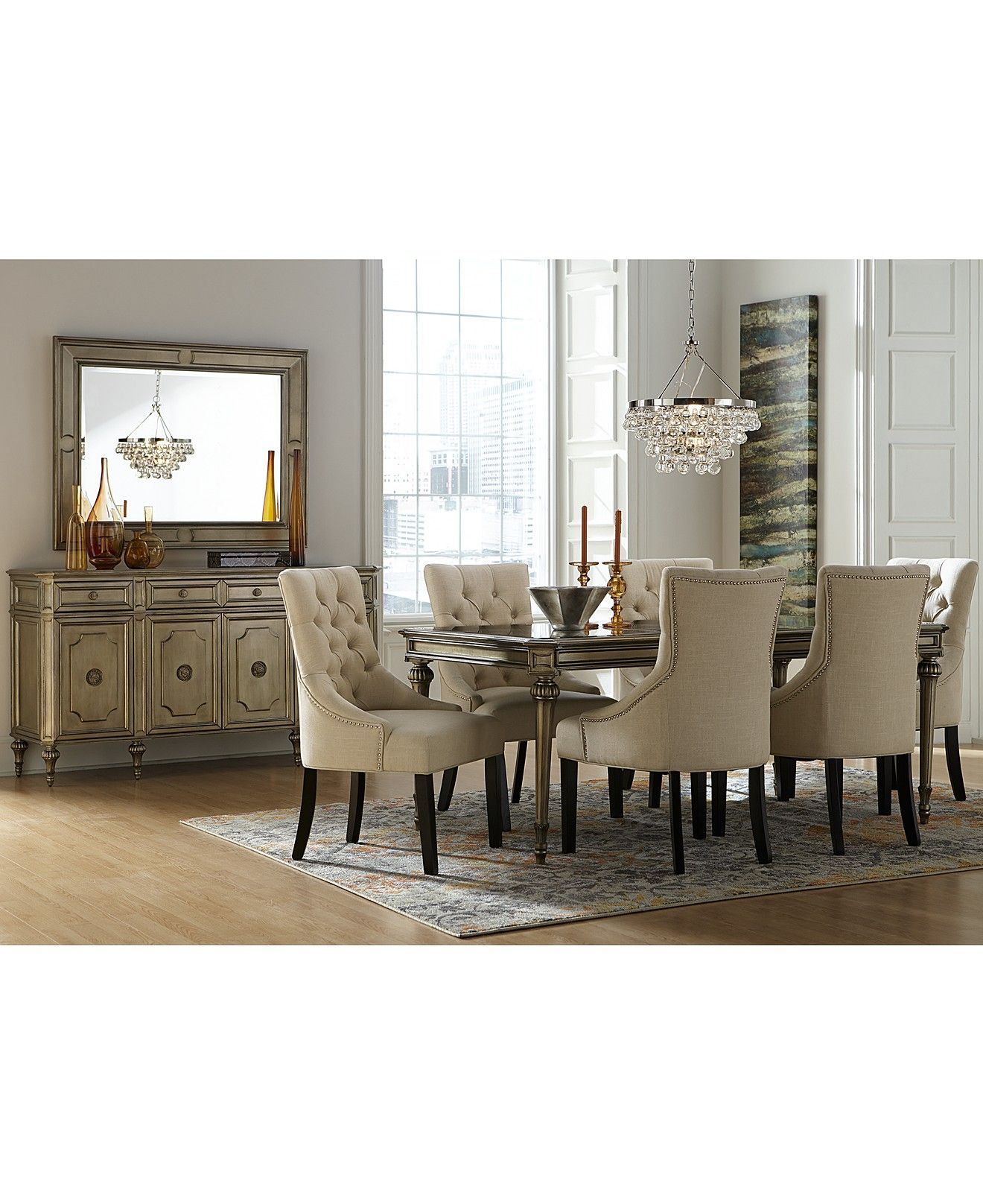 Prosecco Dining Set With Marais Chairs Dining Room Collections