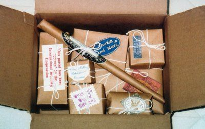 Getting a Harry Potter themed package in the mail would be epic ...