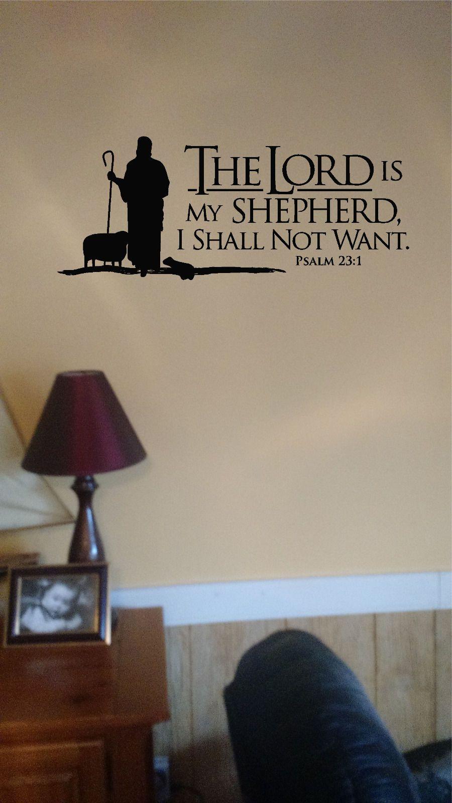 Psalm 23 Bible Verse Quote The Lord Is My Shepherd Vinyl Wall Art Sticker Decal Mural With 3d Butterflies Home Church School Decor Vinyl Wall Art Wall Psalm 23
