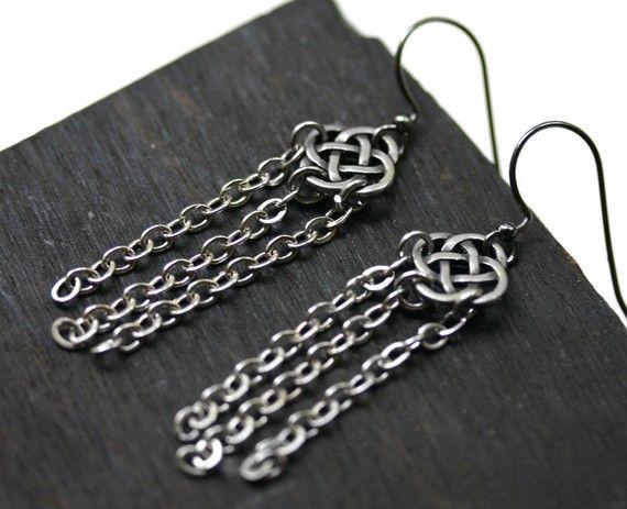 Celtic Knot Earrings  Rain Chain by robinhoodcouture on Etsy, $24.00