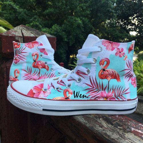 Original Pink Palm Tree Flamingo Hand Painted Canvas Shoes