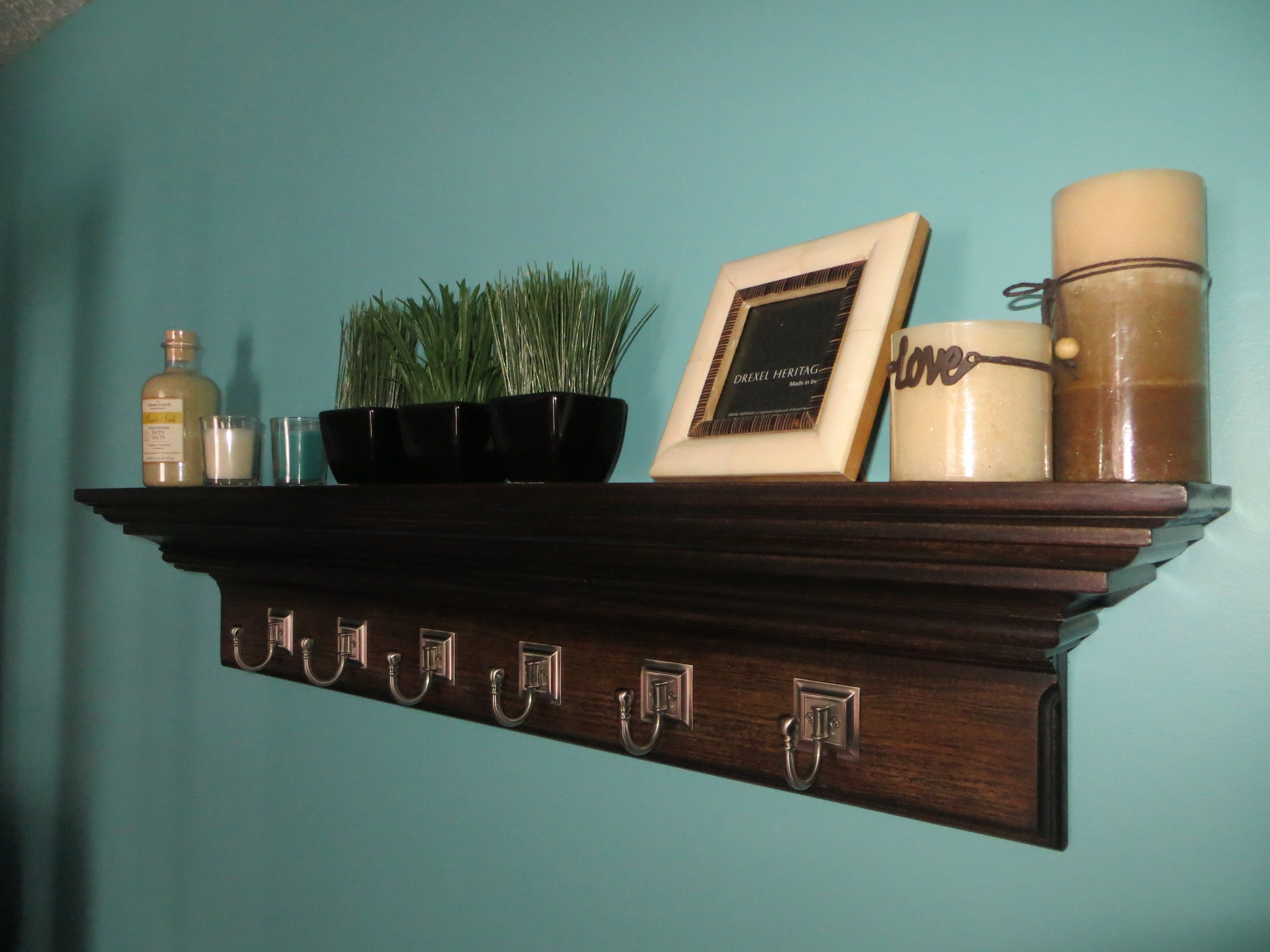 42 crown molding floating wall shelf espresso with 6 satin 42 crown molding floating wall shelf espresso with 6 satin nickel amipublicfo Choice Image