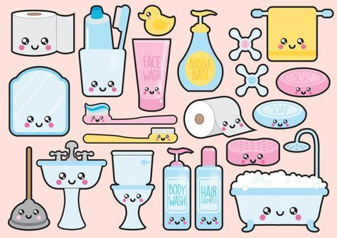 Premium Vector Clipart Kawaii Badezimmer Clipart Kawaii Badezimmer Clipart Set Hochwertige Vektoren Instant Download Kawaii Cli Kawaii Drawings Kawaii Stickers Kawaii Doodles