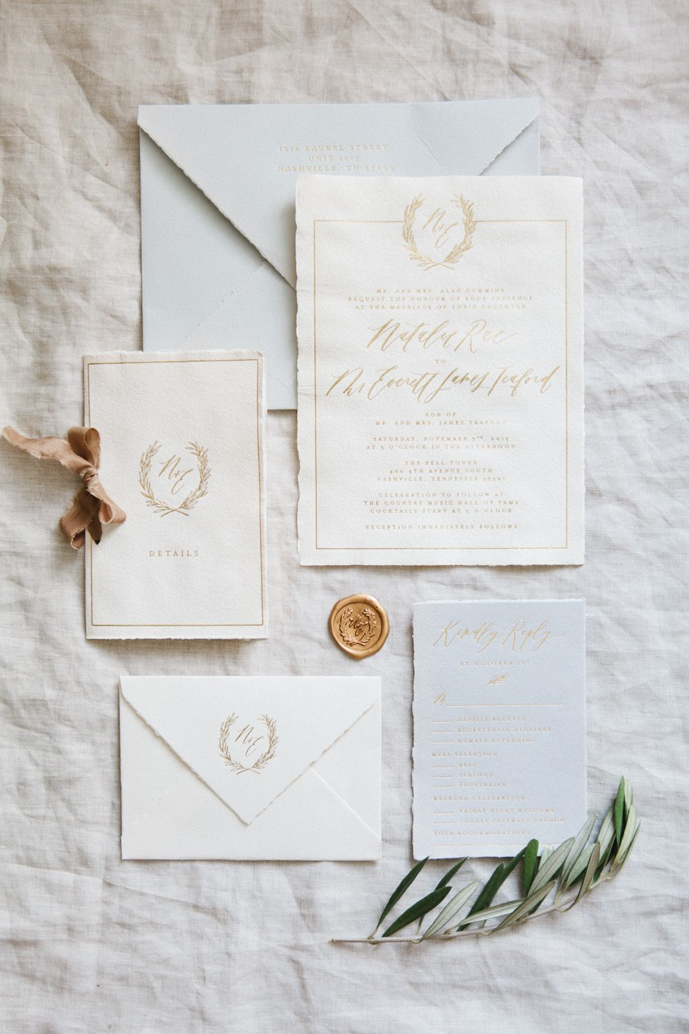 Handmade Paper Invitations Calligraphy And Design By Written Word Gold Foil Printing Gray Weddings Jessica Sloane