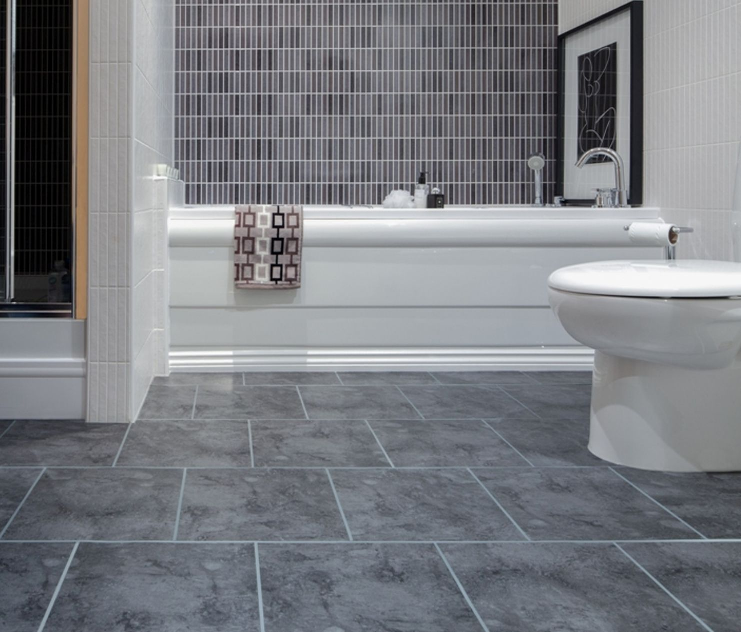 Bathroom floor tile grey