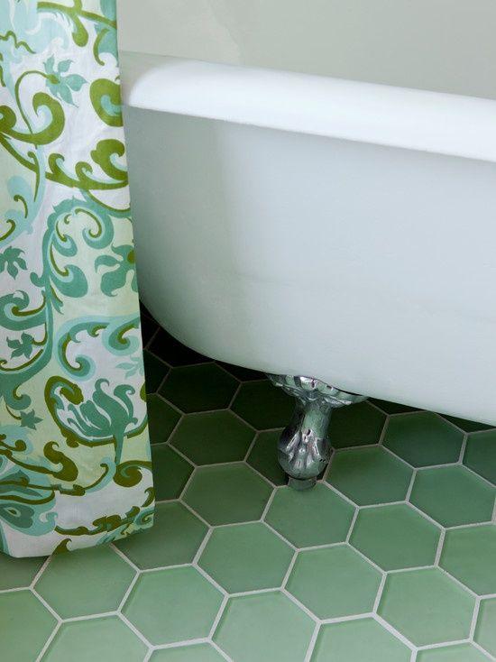 green hexagon floor tile - Google Search