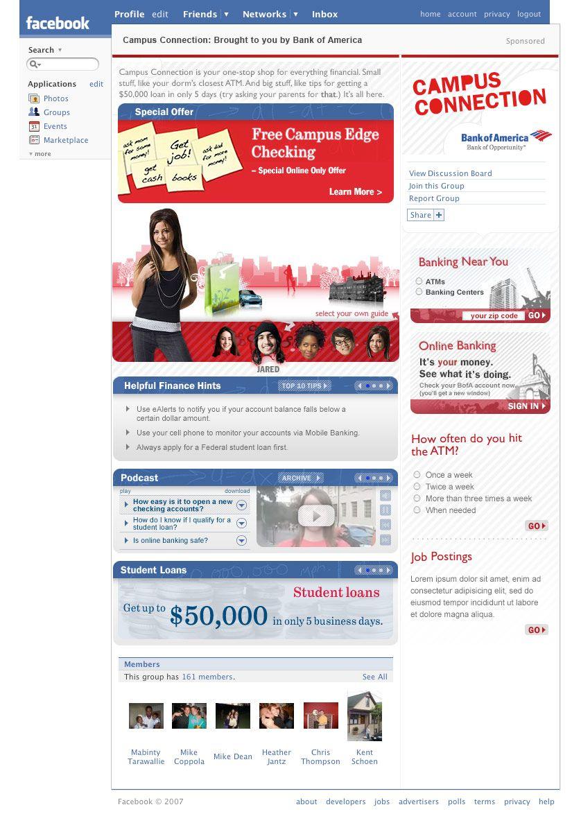 Campus Banking Checking Facebook Tab Bank Of America Banks And