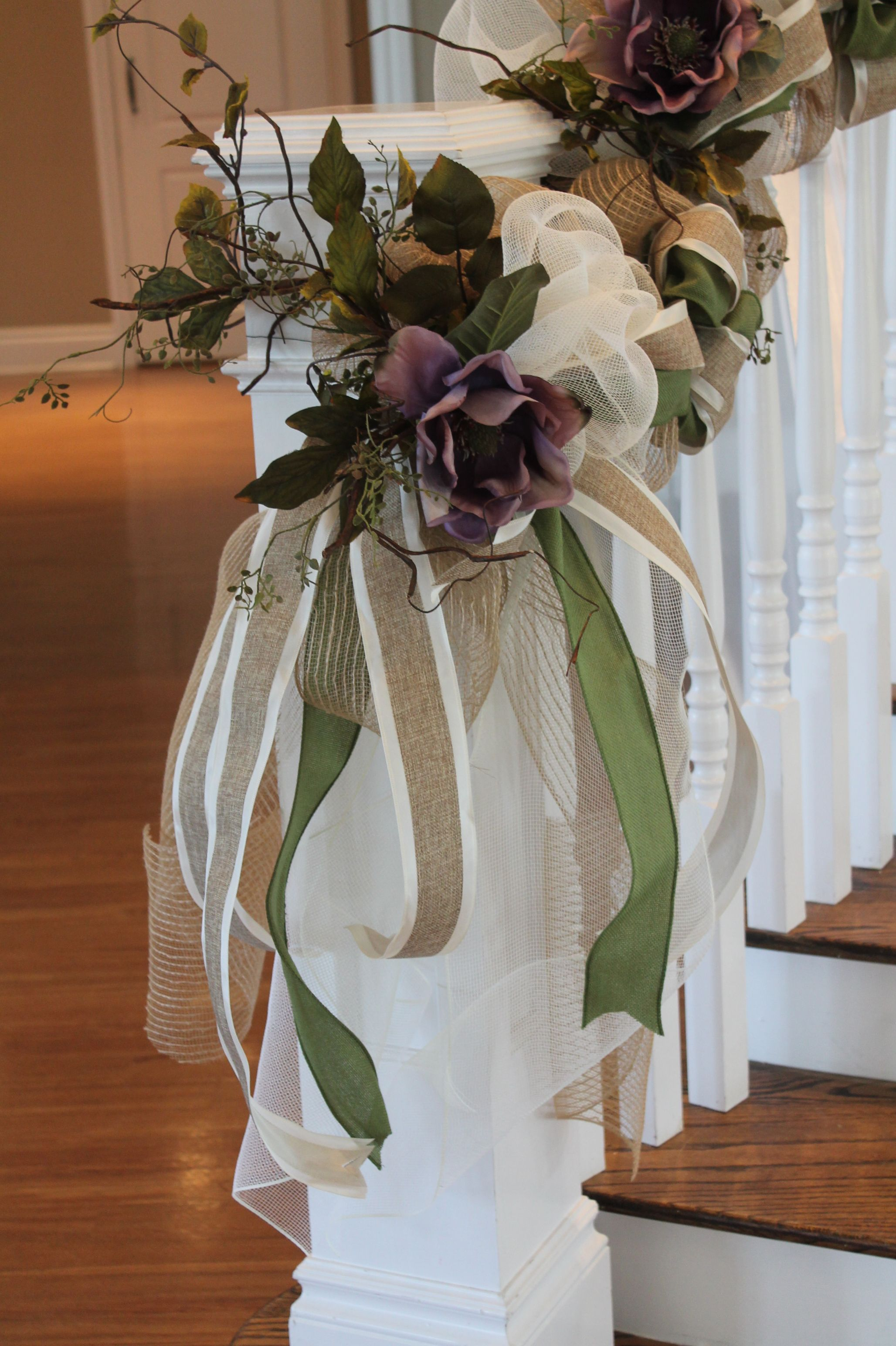 Burlap And Mesh Staircase Decorations