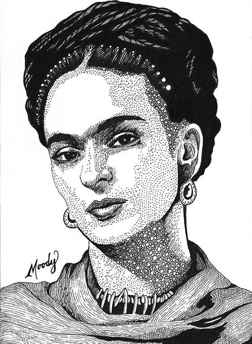 Frida kahlo micron pens on 5 x 7 bristol by monica moody