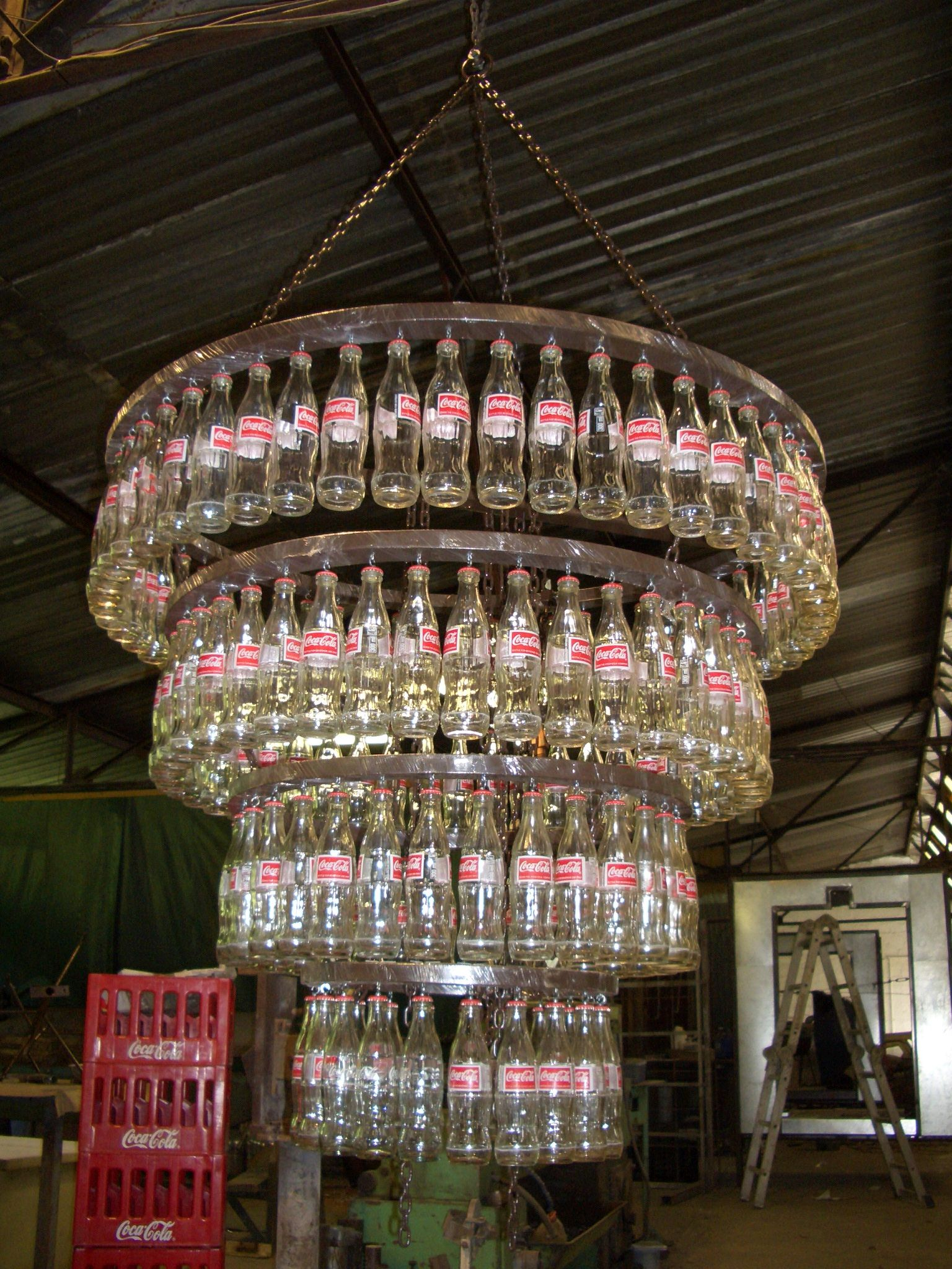 Cocacola bottles chandelier coke pepsi 7up just soda pop cocacola bottles chandelier arubaitofo Images