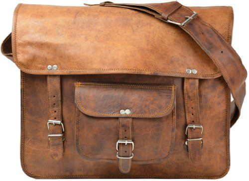 Men/'s Messenger épaule Sac d/'Ordinateur Portable Mallette authentique vintage en cuir marron sac