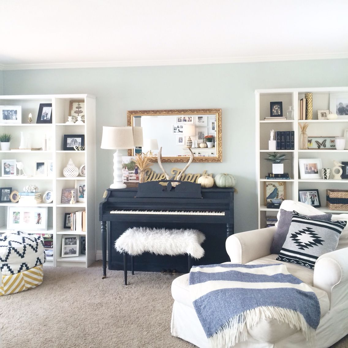 Painted Piano Bookshelves Living Room Poufs Sosimplydesign Piano Living Rooms Piano Room Decor Piano Room Design Living room ideas piano