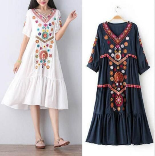 Womens Embroidered Plus Size Flower Pattern Short Sleeve V ...
