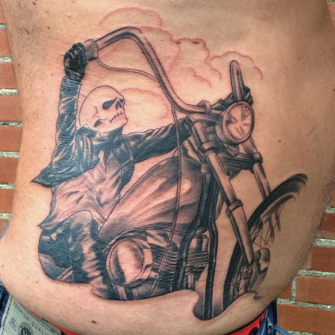 Motorcycle with biker tattoo - 50 Fearless Outlaw Biker Tattoo Designs For Brutal Men