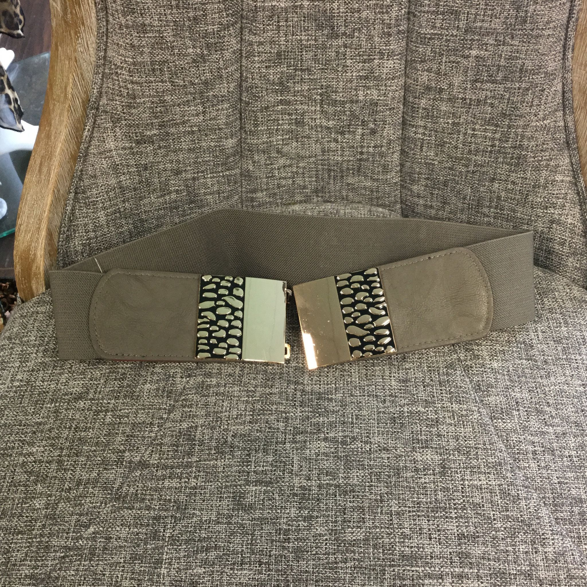 Belts, Taupe Metal Plate with Animal Design