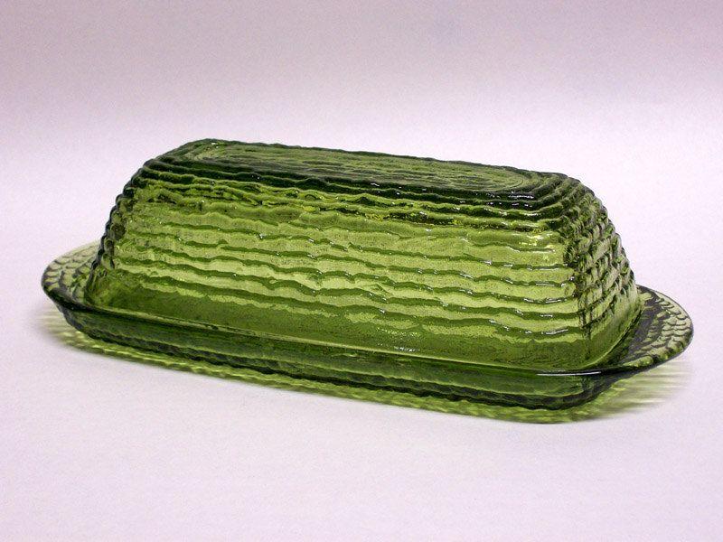 Vintage Anchor Hocking Soreno Glass Butter Dish Avocado Green Avocado Green Collectible Pottery Anchor Hocking