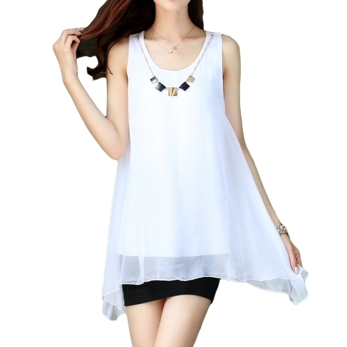 (6.68$)  Watch here  - New Fashion Women Chiffon Blouse Candy Color Sleeveless Irregular Hem Loose Tank Tops White