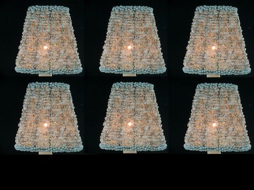 6 Sea Shell Chandelier Shades Mini Clip On Crystal Shades Lamp Shades Shell Chandelier Chandelier Shades Lamp Shades