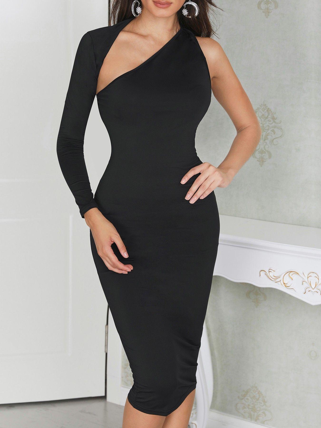 32++ One shoulder black dress ideas