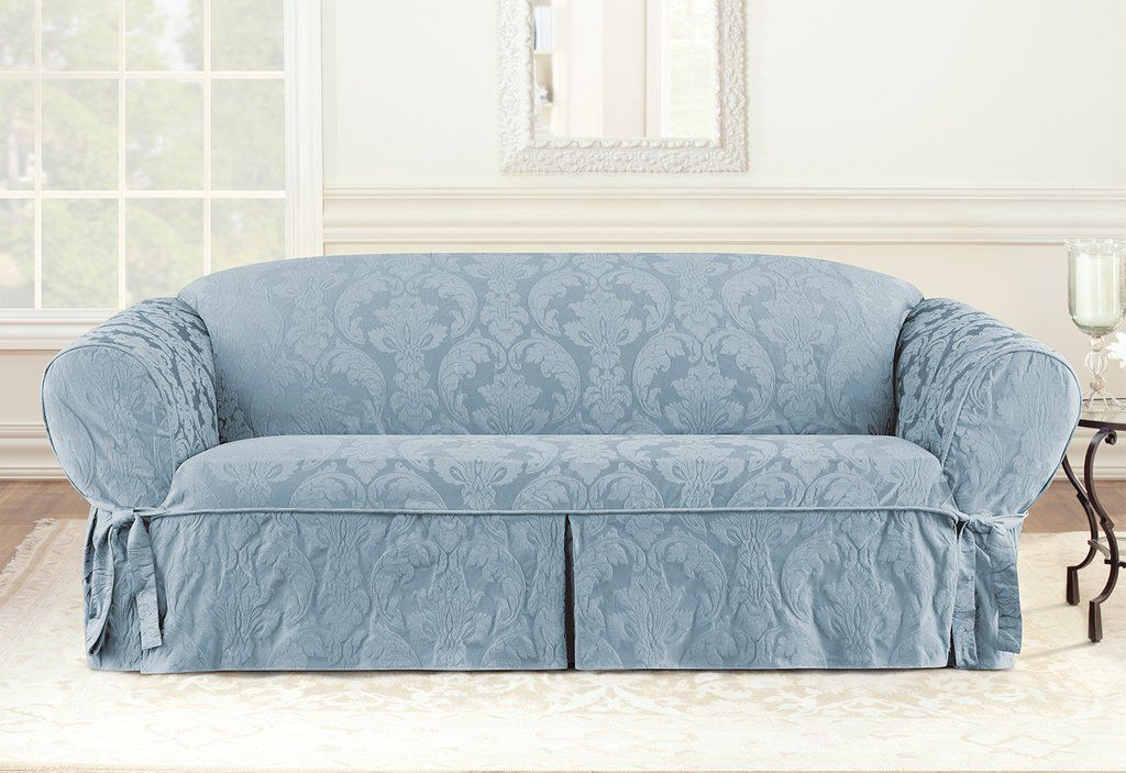 Matelasse Damask One Piece Sofa Slipcover Damask Pattern Relaxed Fit Machine Washable Slipcovers For Chairs Slipcovered Sofa Cushions On Sofa
